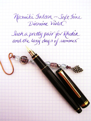 Namiki Falcon SF with Diamine Violet ink on Rhodia grid paper