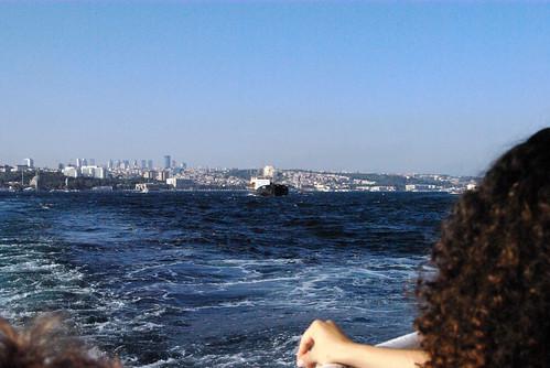 Besiktas and Bosphorus from ferryboats back, pentax k10d