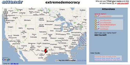 Extreme Democracy Attendr Map