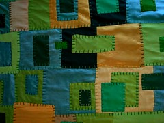 the big funny satin and silk shades of greens quilt..