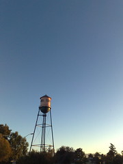 Campbell's water tower during dinner