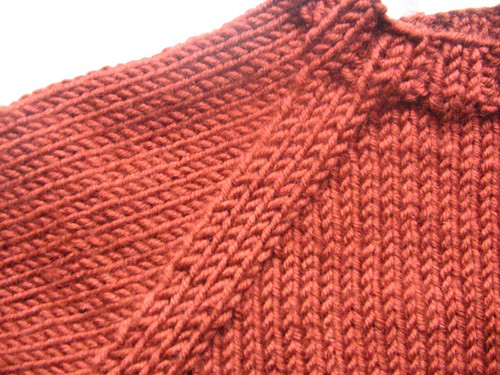 Close-up of raglan shaping