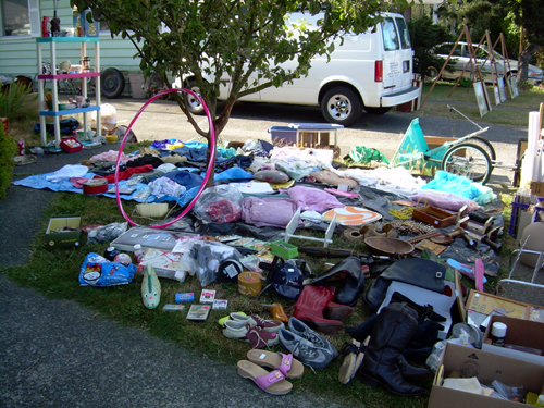 Our yard sale: one half of the yard