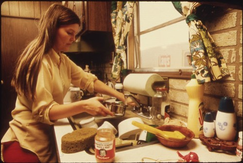 Housewife in the Kitchen of Her Mobile Home in One of the Trailer Parks...