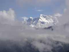 Himalaya in clouds, Chaukhamba mountain massif...