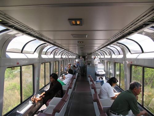 Interior of an Amtrak Superliner Sightseer car