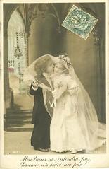 Vintage Postcard ~ Little Bride & Groom
