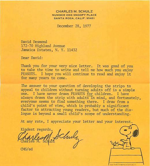 Carta de Charles M. Schulz