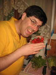 Adam D about to lick the strawberries