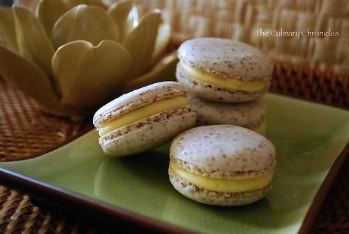 Coconut Macarons with White Chocolate-Mango Ganache