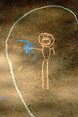 nick's chalk portrait of a man with a gun - _M...