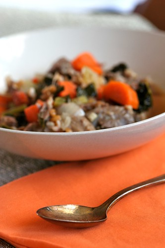 Oxtail Stew with Wheat Berries, Carrots, and Kale