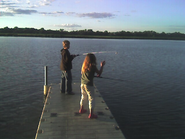 Fishing off the dock was fun