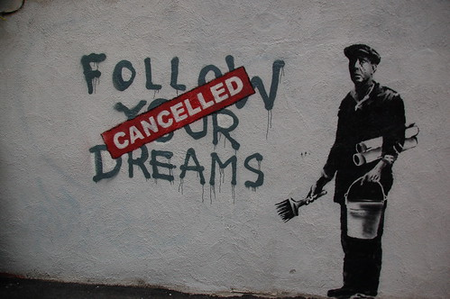 Banksy in Boston: F̶O̶L̶L̶O̶W̶ ̶Y̶O̶U̶R̶ ̶D̶R̶E̶A̶M̶S̶ CANCELLED, Essex St, Chinatown, Boston