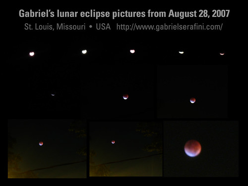 Composite of my pictures of the complete lunar eclipse on August 28, 2007