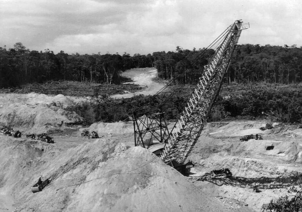 Dragline removing Overburden to get at the Bauxite ore, MacKenzie, British Guiana