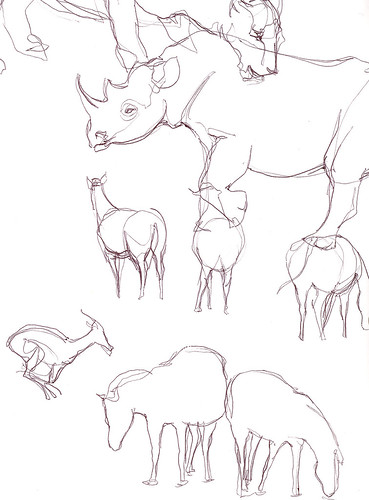 African animal sketches.