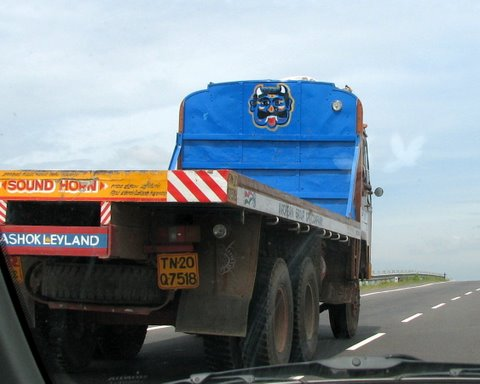 Averting the Evil eye, pic on back of lorry