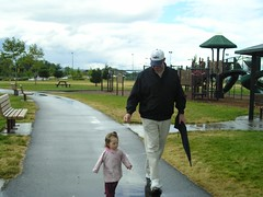 Lola walking with Poppa