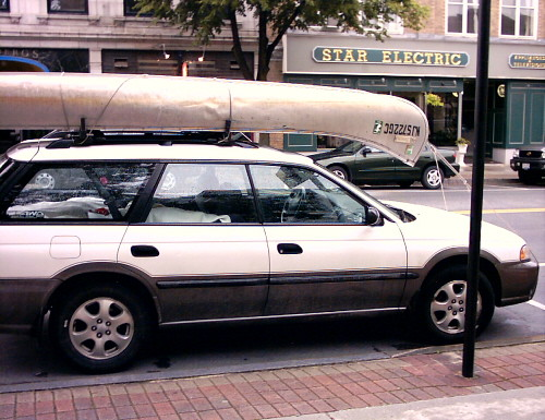Subaru with canoe