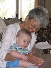 Checking out Great Grandma's hands