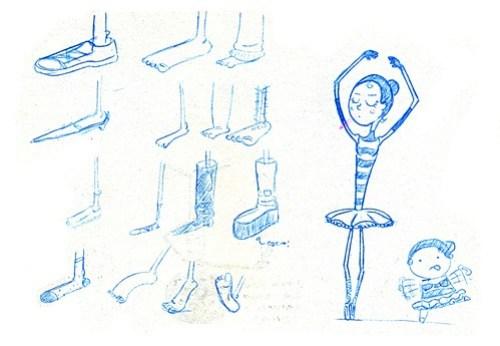 Ilustrações de pés e bailarinas