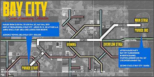 Bay City 2nd Anniversary Parade Map