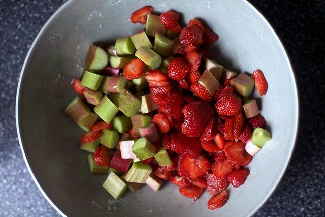 chopped rhubarb, sliced strawberries