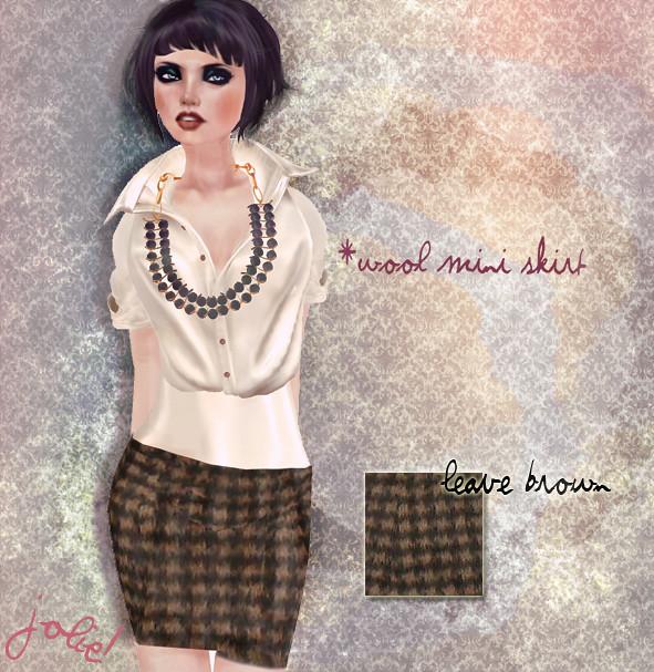 jOLIE! Wool mini skirt leave brown