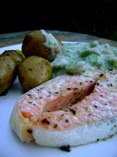 Salmon with Broad Beans in Parsley Sauce