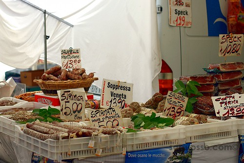 Salame and other meats -Sagra della Fragola, Strawberry Festival in Italy
