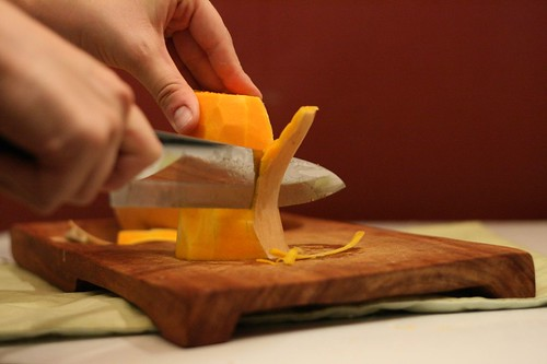Peeling the butternut squash