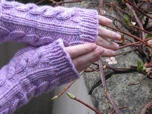 Irish Hiking Armwarmers, Malabrigo Worsted, Orchid