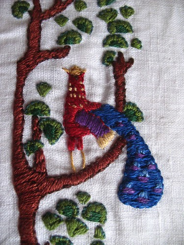 pocket - embriodery finished detail bird 2