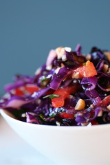 Red Cabbage Slaw with Cashew, Lime, and Basil