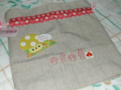 Mushroomated Zakka-style Drawstring Pouch