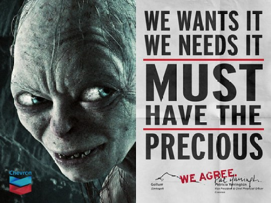 "Chevron & Gollum ""We Agree"" Ad"
