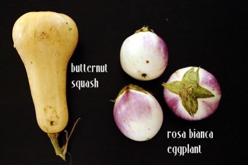 butternut squash and rosa bianca eggplant