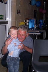 Grandad and grandson partying