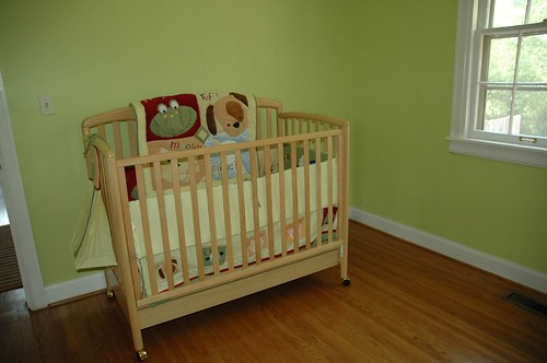 Crib and Bedding with Gleeful Green