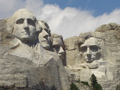 washington, jefferson, roosevelt, lincoln - 60' tall each