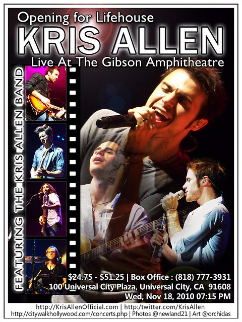 Kris Allen Promo Art – The Gibson Amphitheatre, Universal City, CA