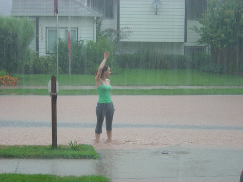Waving at the neighbor from the Hall Street River.