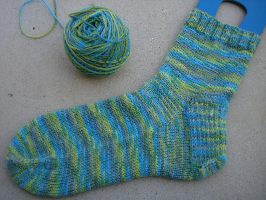 Toe-Up Green Socks