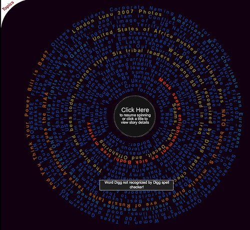 Digg Wheel of Upcoming: Spin the Wheel, Mouseover Your Story
