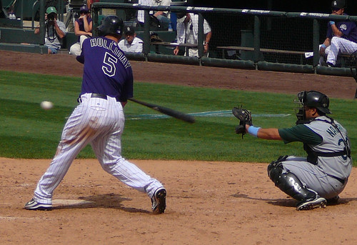 Holliday crushes another pitch (MelvinSchlubman/flickr)
