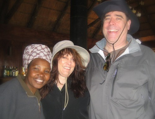 JUDY, MYSELF AND STEVE AT NXABEGA CAMP IN BOTSWANA