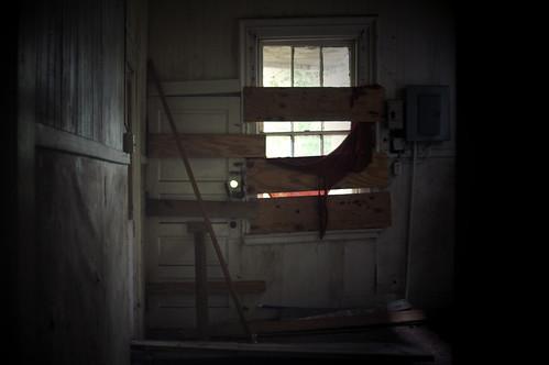 boarded door