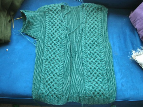 Dan's Aran: First sleeve started