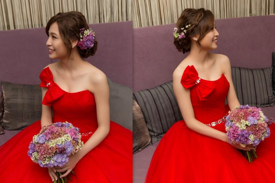 新秘Yuki│新秘推薦│紅色禮服│盤髮│鮮花造型│新娘髮型